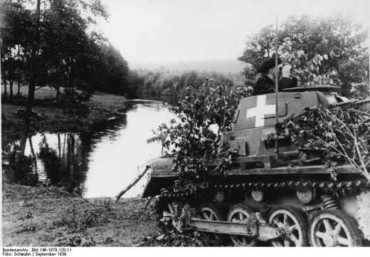 A Panzer I on the banks of the Brahe.