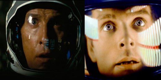 "Matthew McConaughey (left) in ""Interstellar"" and Keir Dullea (right) in ""2001: A Space Odyssey"""