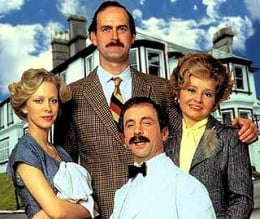 Basil and Sybil Fawlty with Polly and Manuel
