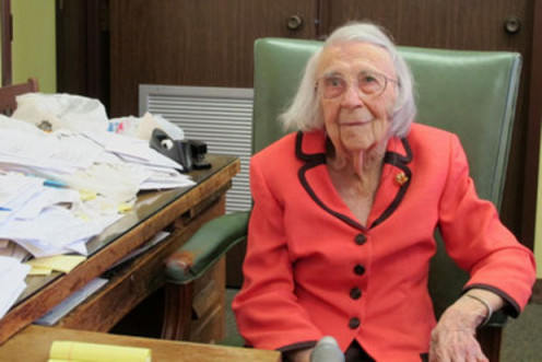 Nelle Harper Lee's sister, lawyer, and life-long protector, Alice Lee shown here in 2011 at age 100, at her law office.