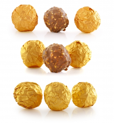 Home Made Chocolate wrapped in gold paper, delight to the eye!