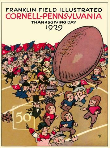 Vintage Program For The 1929 Thanksgiving Football Game Between Cornell And Pennsylvania.
