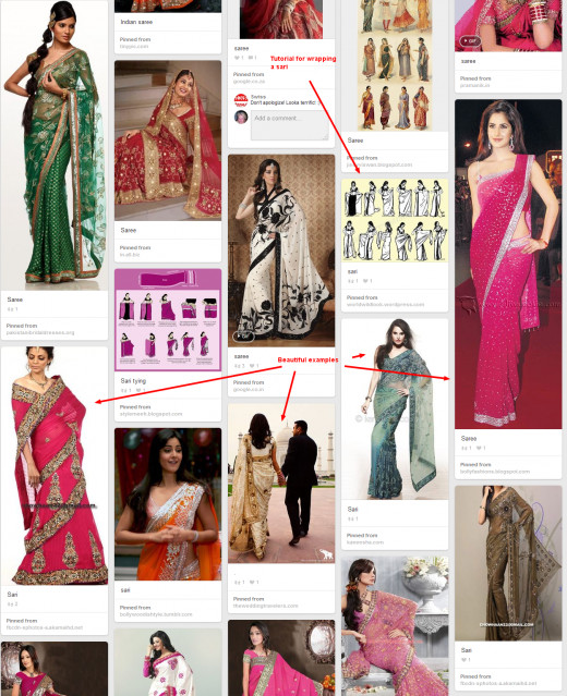 Here's where I pin my inspiration photos. There are some tutorials too for how to wrap the sari.
