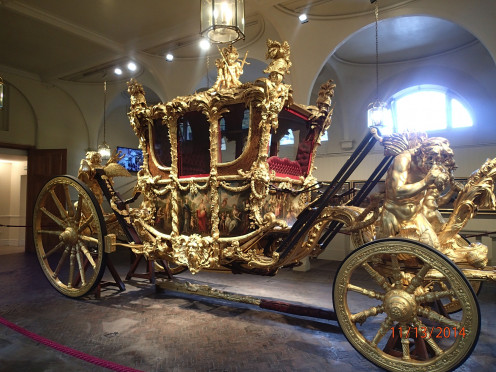 The Coronation Stagecoach on the Royal Mews tour at Buckingham Palace