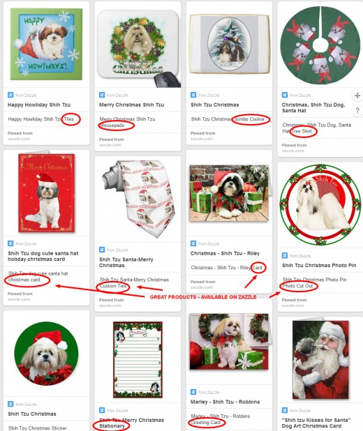 There were tree skirts, Christmas cards, mousepads, stationary, stickers and even a Christmas necktie featuring a shih tzu. Click on the link if you want to see any of them better.