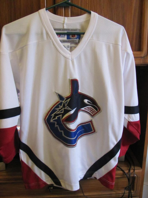 My son is a fan of the Vancouver Canucks.  Jersey's don't come cheap.  This classic, like-new just  $4.99