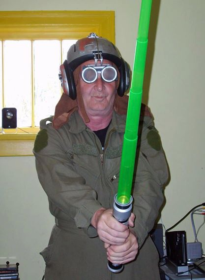 For my husband the Jedi - Headgear $3, light sabre $1, and flight suit $8.