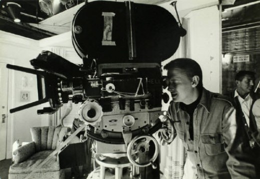 Mike Nichols at the set of the Graduate