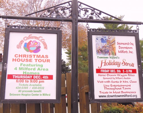 2014 Downtown Milford Holiday Stroll and Holiday Events Signs are all over town.