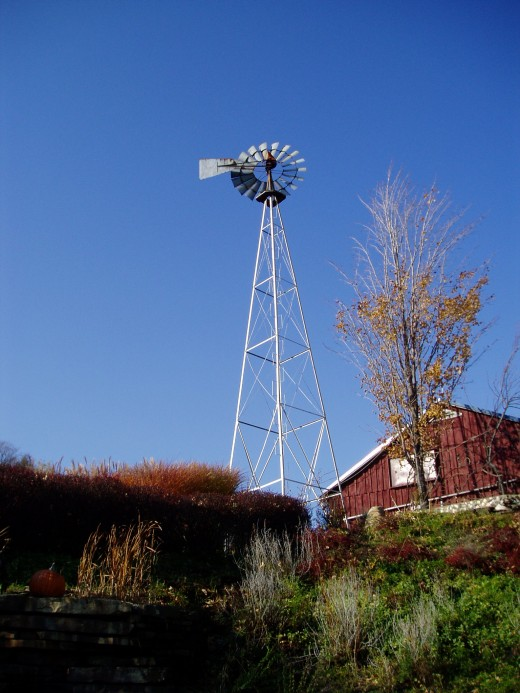 A view of the cooperage and old windmill.