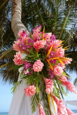 White Gauze connects palms for the beach wedding ceremony site, anchored by wedding flowers for an exotic beach wedding theme