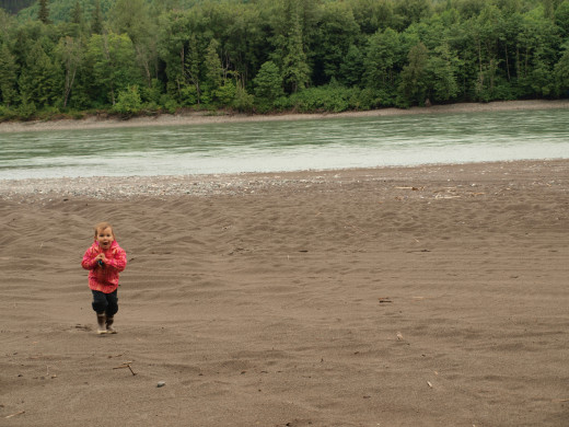 Our daughter on the beach of the Skeena River 9.2km outside of Terrace, B.C.