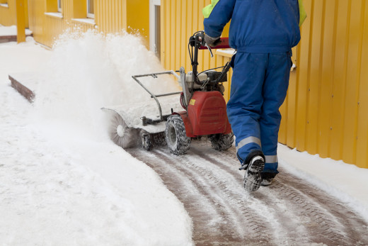 Try using a snow blower for large jobs.