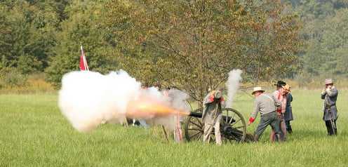 Civil war reenactment near Danville, Illinois