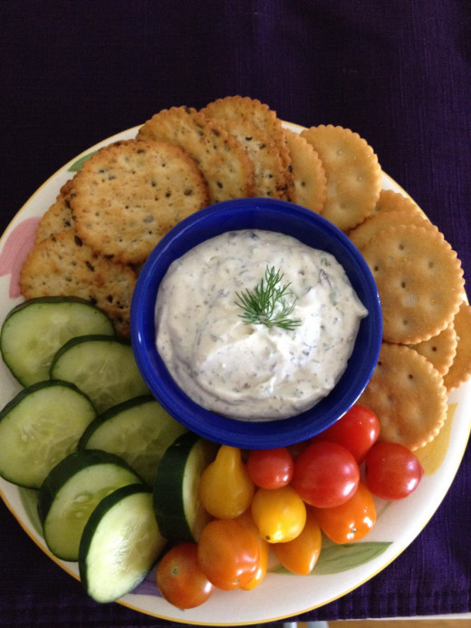 Chopped kalamata olives and finely minced onion make a savory dip to serve immediately or store until party time