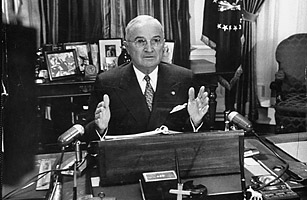 """President Truman announcing nationalization of the steel industry."""