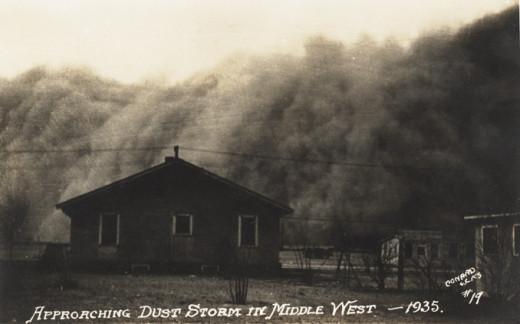 Dust storm, American dust bowl. Archival photo