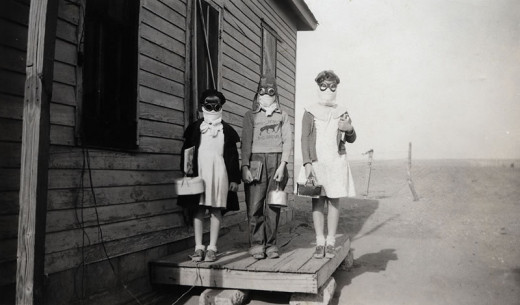 American children with masks on to breathe; Dust Bowl
