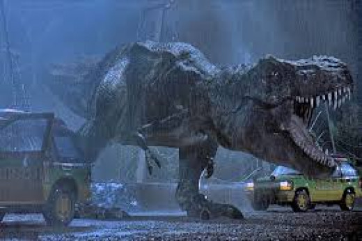 T- Rex is a frightening creature in Jurassic Park who loves to eat meat.H e is locked away in a wildlife park behind an electric fence.