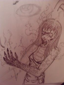 A burning wench, drawn in a sort of manga style