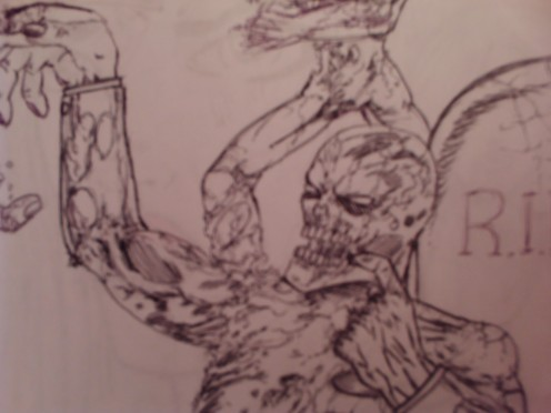Zombies are another fun thing to draw, especially when they are rotting well.