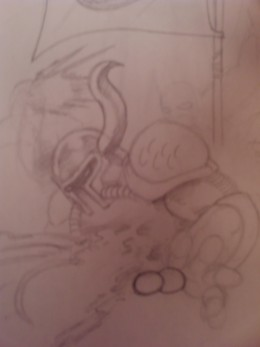 A half finished sketch of a knight getting his guts blown out!