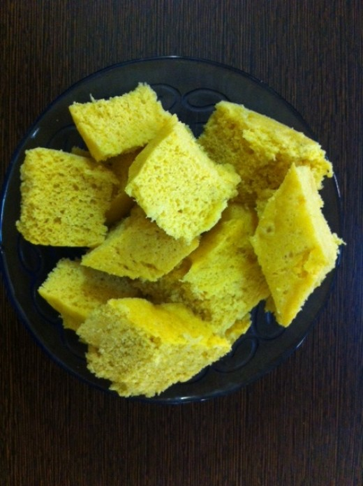 Cut Dhokla into desired pieces