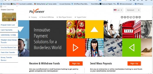 Payoneer homepage. How to link Payoneer card with Paypal