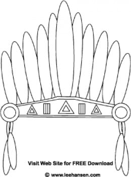 Printable thanksgiving coloring pages for Indian hat template