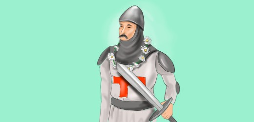 Medieval knight wearing his lady's daisy chain.
