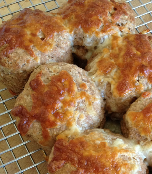Hot, cheesy biscuits, straight from the oven
