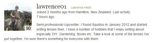 Semi professional copywriter. Found Squidoo in January 2012 and started writing lenses then. I have a number of hobbies that I enjoy writing about especially DIY, Gardening, Books etc.