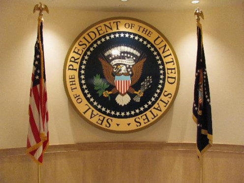 Presidential seal at JFK Presidential Museum & Library, Boston, MA. (Dmarkwind, Feb 2012)