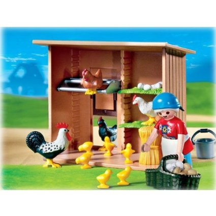 Little Red Hen lives in the chicken coop with her chicks, a couple of other hens and a rooster. You will also find a shock of wheat and nests for the hens to roost in.