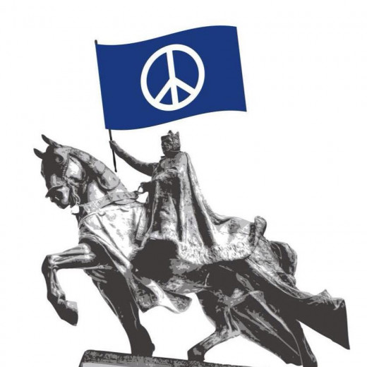 Statue of King Louis IX of France, namesake of St. Louis, Missouri - located in front of the Saint Louis Art Museum in Forest Park.  Peace sign flag added to image as Grand Jury decision was announced and violence resulted.