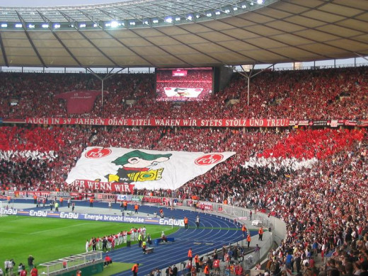 Hundreds of supports of FC Nürnberg out to support their team as the club faced Stuttgart in the 2007 German Cup. FC Nürnberg won 3-2 after extra time to claim the club's first major award since 1968 and its first German Cup in 45 years.