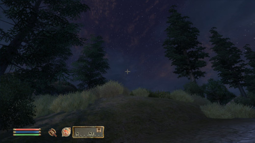 The compass shows the location of nearby landmarks, even those the player has yet to discover.