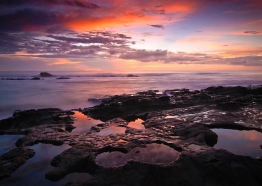 A beautiful crimson sunset over the clandescent coast of Costa Rica (Nov 20, 2013)
