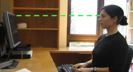 Most should prefer their monitor 2-3 feet away from their eyes with the monitor tilted slightly back and at eye level.