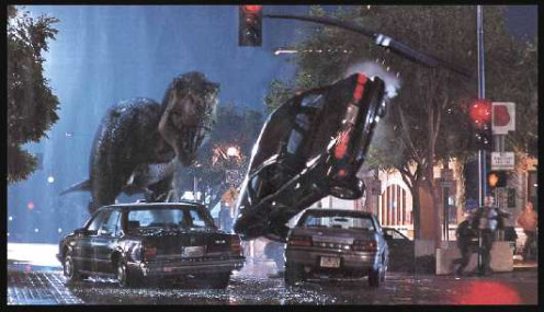 T-Rex is dangerous enough in his own environment but unleashed in the city is an even bigger issue. He destroys cars and buildings with hardly any effort.