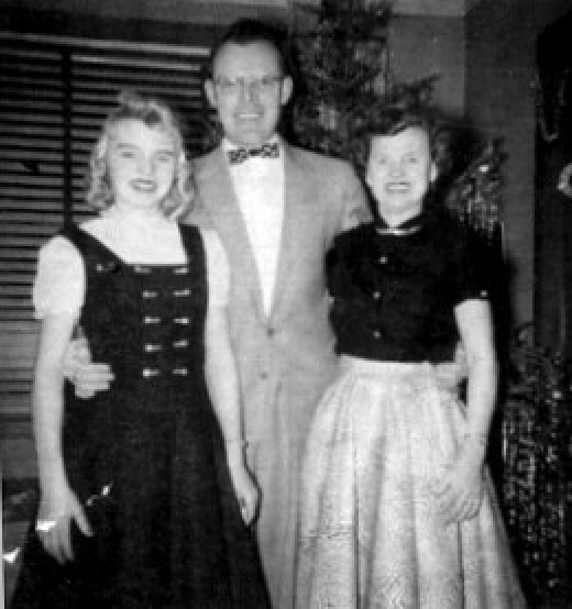 Cousin Joan, Uncle Bob, Aunt Marion - Christmas at Billie's Mom and Dad's apartment, 1956 ???
