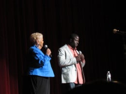 """Parris and Rock, served as hosts for Now That's Entertainment's show, """"A Time For Laughter,"""" with Sinbad, The Intruders and Sheila Coley."""