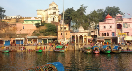 Ram Ghat, where the devotee-poet Tulasi Das had a vision (Darshan) of Lord Rama
