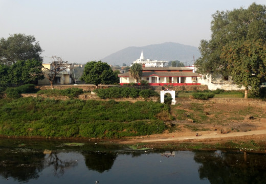 Mandakini river with the sacred hill Kamad Giri in the distant horizon