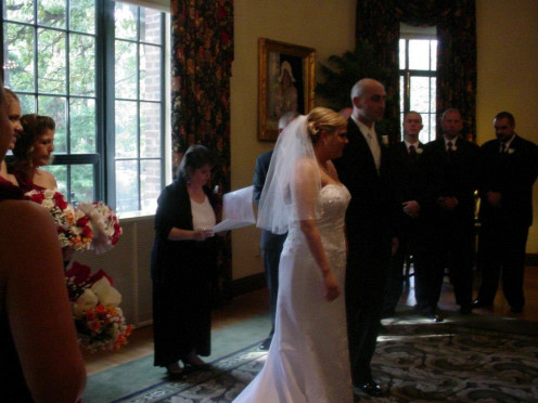 Couple married at Ohio State University. Pronouncement of couple.