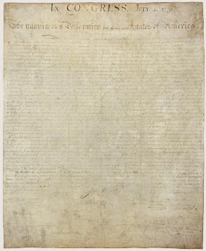 The original (above), now exhibited in the Rotunda for the Charters of Freedom in DC, has faded badly largely because of poor preservation techniques during the 19th century. Now it's maintained under the most exacting archival conditions.