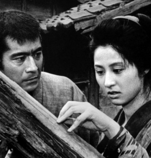 Sutekichi (Toshirō Mifune) tries to get through to Okayo (Kyokō Kagawa) in Akira Kurosawa's Gorky adaptation The Lower Depths (1957)