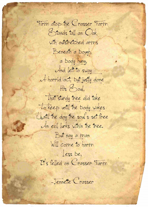 Warning poem found in burned out basement on Carasser Farm by Jennette Crasser, cira 1920