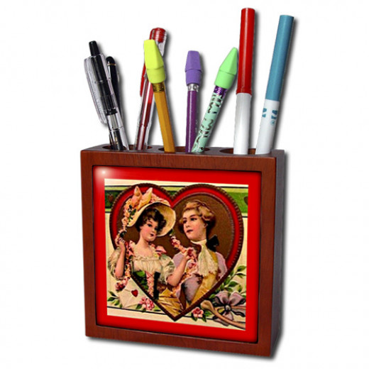Sandy Mertens Vintage Valentine Designs Tile Pen Holder Page - See Link in the intro text