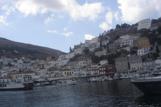 Approaching the port of Hydra Town, Hydra, Greece